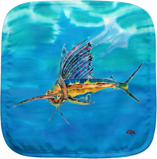 The Sailfish Potholder makes for the perfect kitchen item. With a 100% polyester face and 100% cotton back this potholder is extremely heat resistant. Also has a hang tag on back. Dimensions are 8.25 x 8.25.