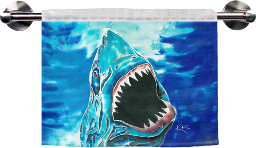 "The Shark Attack Ribbed Towel is a soft, high quality towel. Micro denier polyester material makes the towel extra absorbent. The upper part of the towel is ribbed cotton. Dimensions are 16"" x 25""."