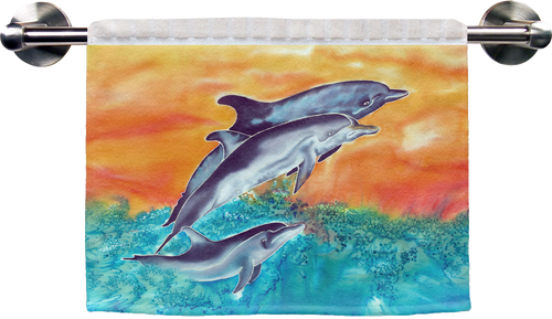 "The Dolphins Ribbed Towel is a soft, high quality towel. Micro denier polyester material makes the towel extra absorbent. The upper part of the towel is ribbed cotton. Dimensions are 16"" x 25""."