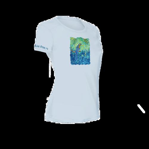 Tropical Blue Women's Short-Sleeve Solar Performance Shirt