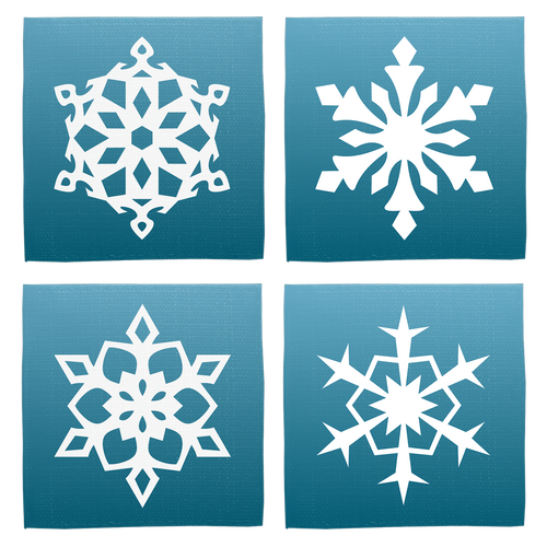 Fronts, all different snowflake designs