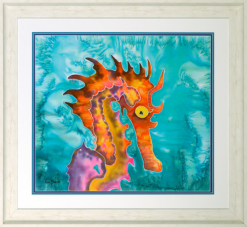 Fierce the Seahorse Original Silk Painting