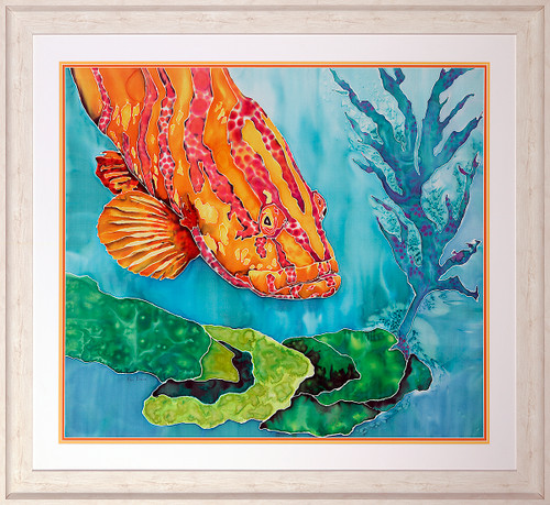 Grouper in the Green Original Silk Painting