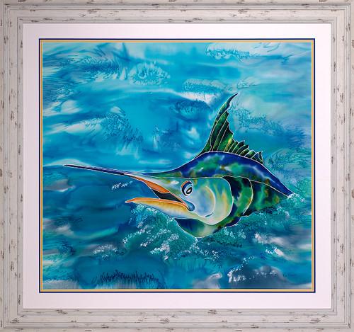 Splash the Marlin Original Silk Painting