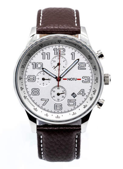 20 Series- Silver Dial with Brown Strap