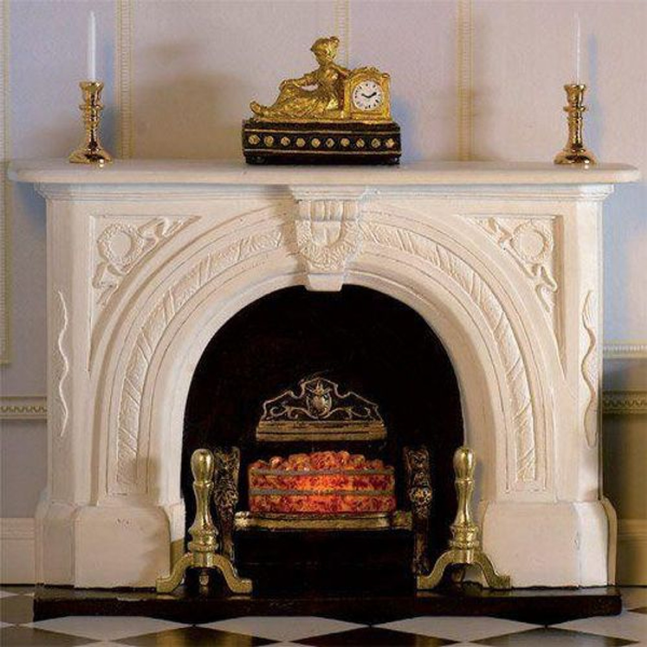 Carved Stone Fireplace 7436