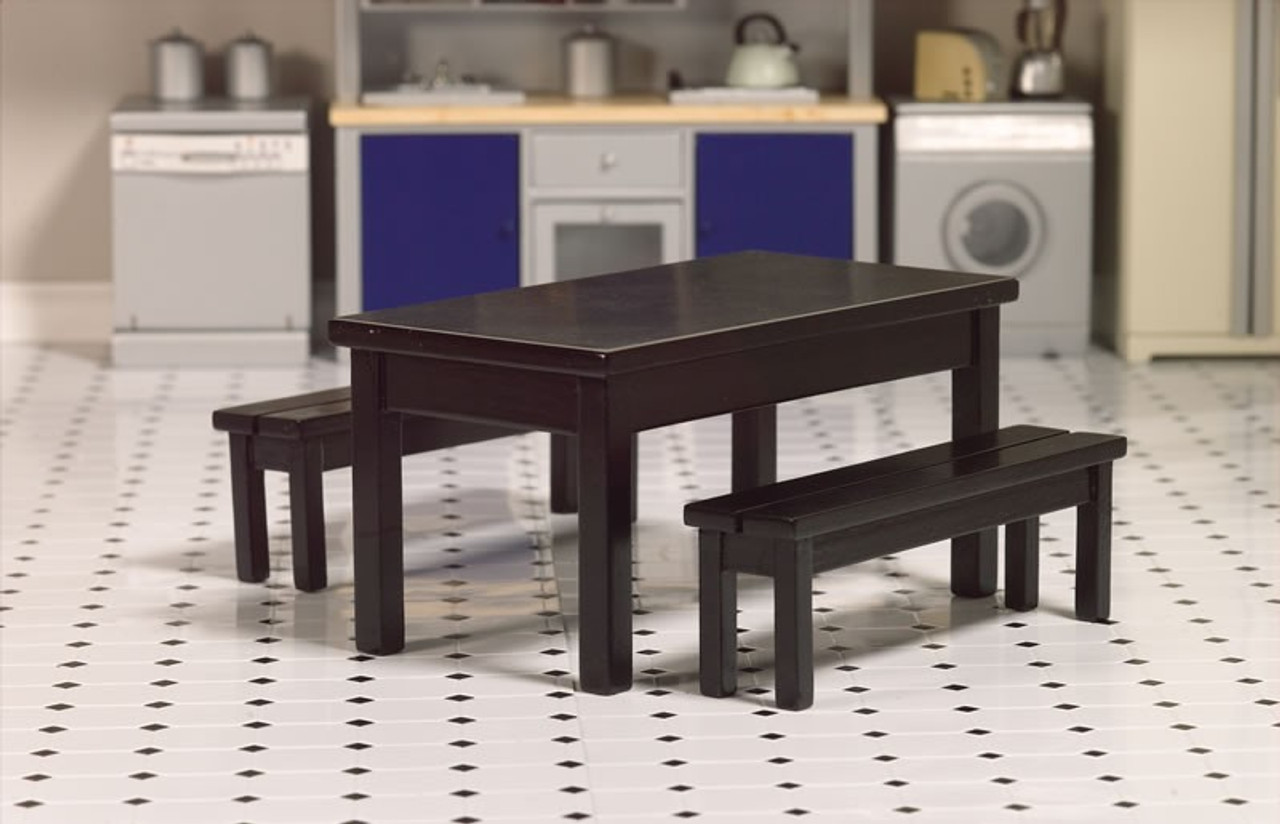 Black Dining Table & Two Benches 2773