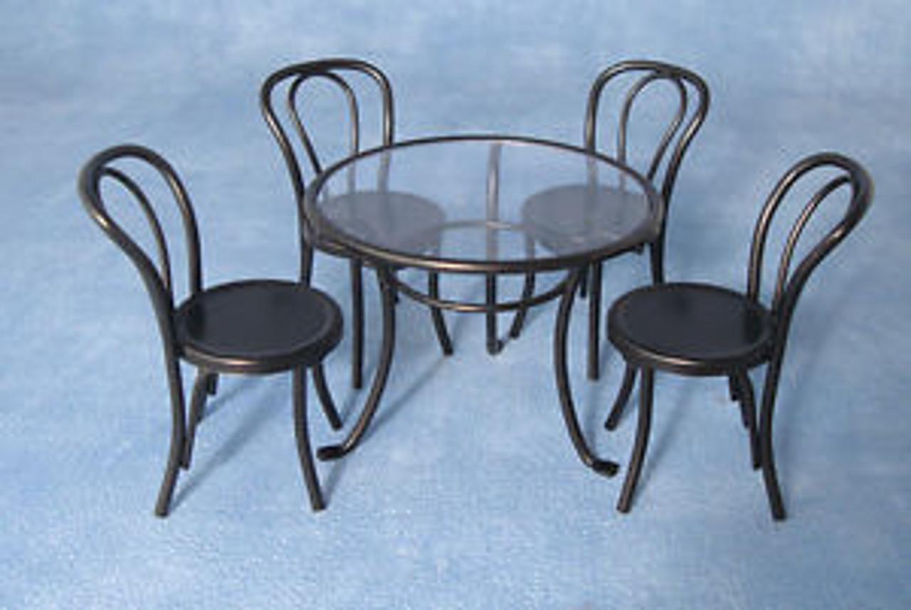 Black Metal Table & 4 Chairs DF1428
