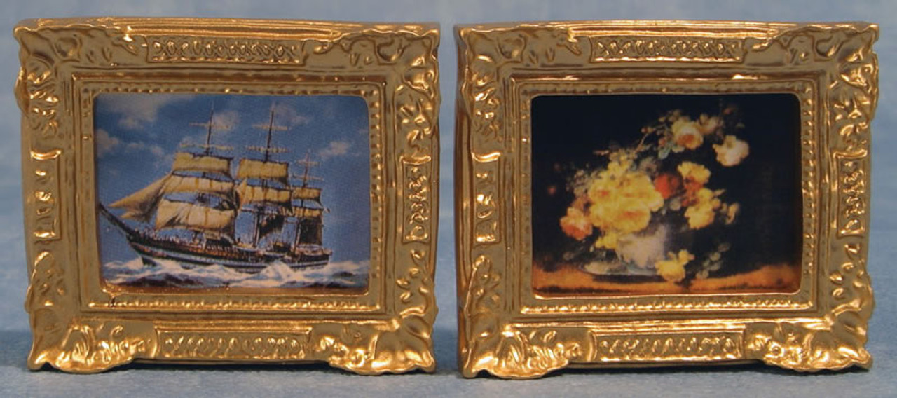 Pack of 2 Rectangular Gilt Framed Pictures D560
