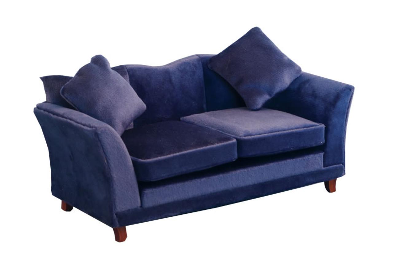 Royal Blue Modern Velvet Sofa 9315 The Dolls House Outlet