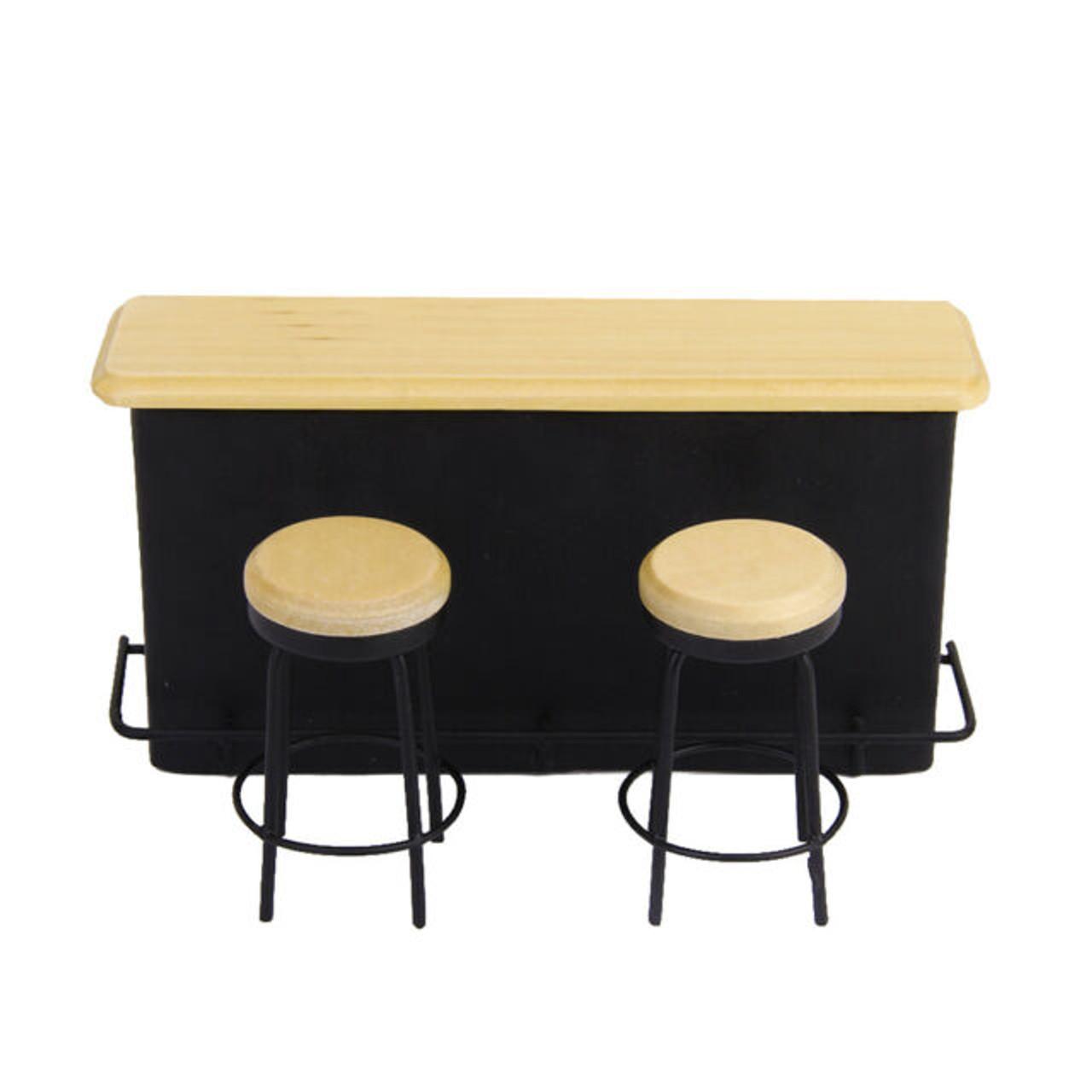Black Bar & 2 Stools Set  9235