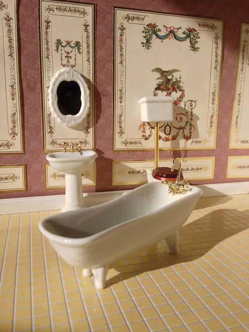 White Classic Bathroom Set, 4 pcs 1751