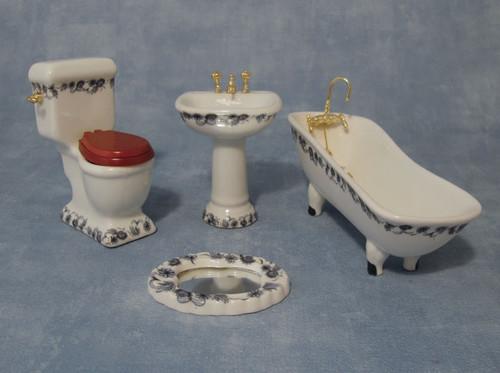 Blue Floral Deluxe Bathroom Set DF1430