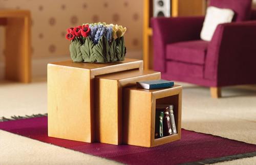 Modern Light-Wood Nest Of Three Tables 3727