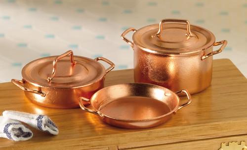 Two Casseroles & Skillet, Copper Pans 4478