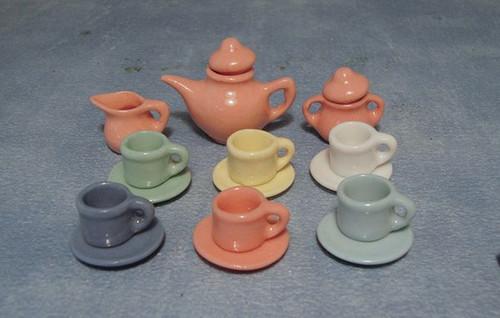 Art Deco Multi Coloured Tea Set D2182