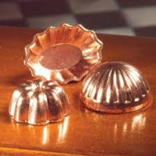 Set of 3 Copper Jelly Moulds 5549