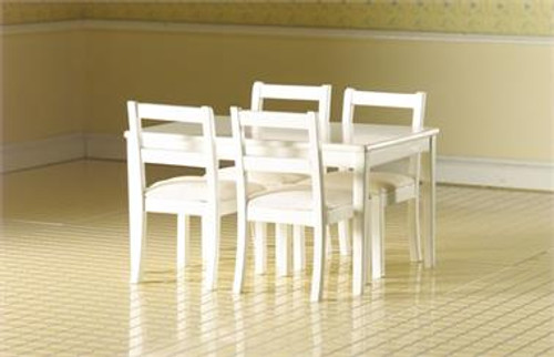 Modern White Table & Four Chairs 3665