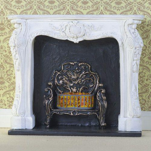 White Rococo Style Fireplace 8090