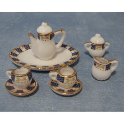 Oval Dark Blue Tea, Coffee Set D2103