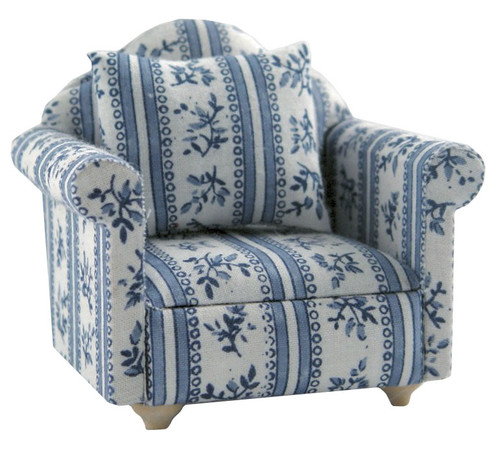 Patterned Blue Armchair DF889