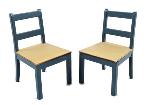 Modern Chairs Pack of 2 Blue & Pine 9293