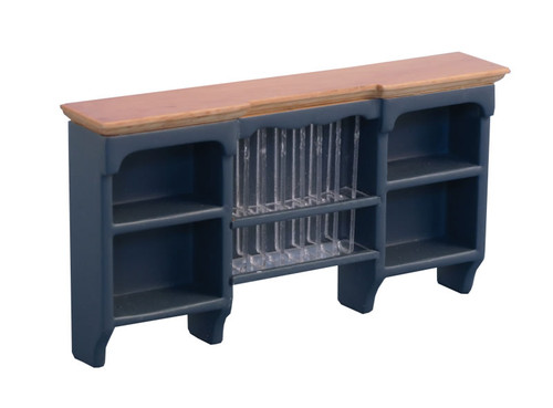 Shaker-Style Wall Shelves with Plate Rack Blue & Pine 9297