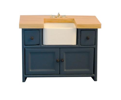 Shaker-Style Kitchen Sink Unit Blue & Pine 9300