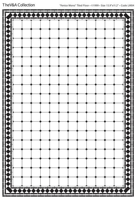 A3 Black & White Floor Tiles Fenice Gloss Card DIY059A