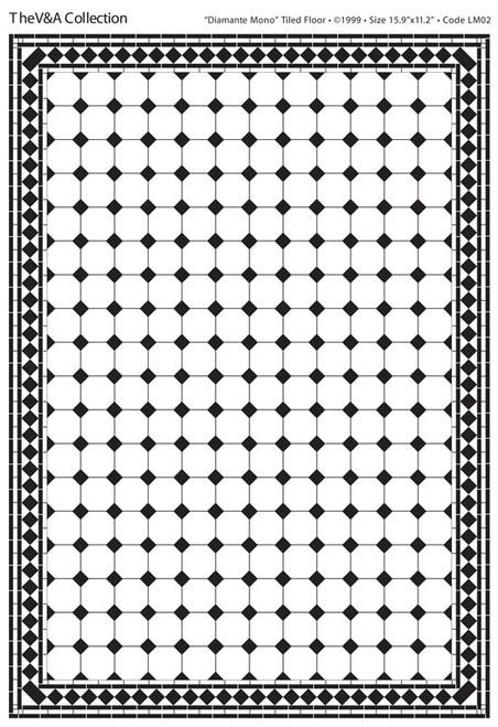 A3 Black & White Floor Tiles Diamante Gloss Card DIY059B