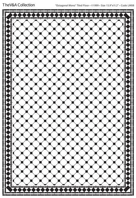 A3 Black & White Floor Tiles Octagonal Gloss Card DIY059C