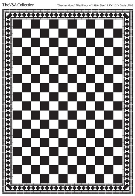 A3 Black & White Floor Tiles Checker Gloss Card DIY059D