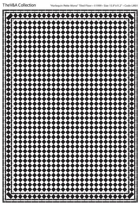 A3 Black & White Floor Tiles Harlequin Petite Gloss Card DIY059F