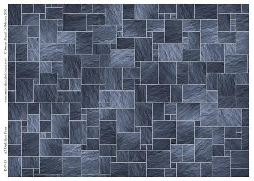 A3 Dark Slate Floor Tiles Gloss Card DIY433