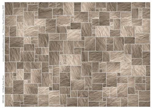 A3 Dark Stone Floor Tiles Gloss Card DIY434B
