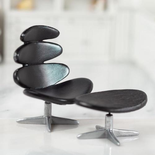 Modern Black Corona Chair with Stool S8012