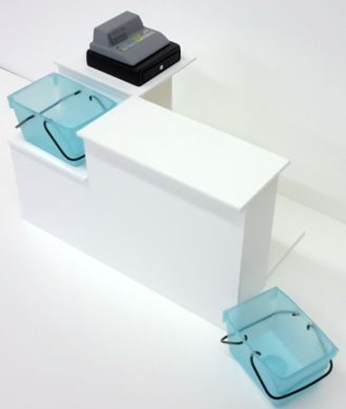 White Shop Checkout Desk with Basket Well S125W