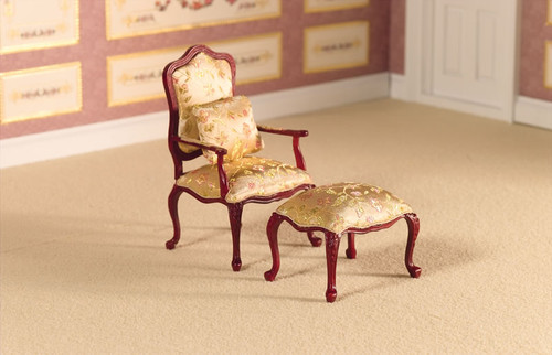 Finely Carved Armchair and Stool 2423