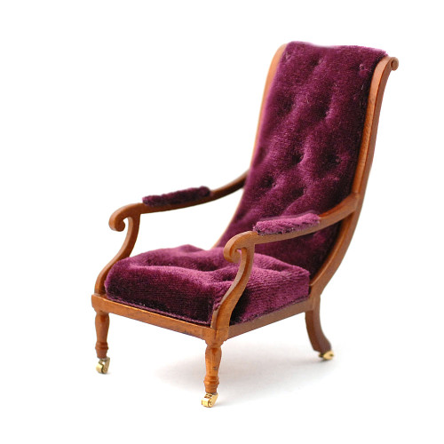 William IV Library Chair Walnut Finish 2886