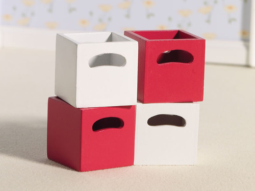 Cherry & White Storage Boxes 4226