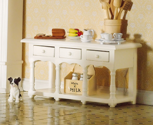 White Sideboard with Pot Shelf 4197