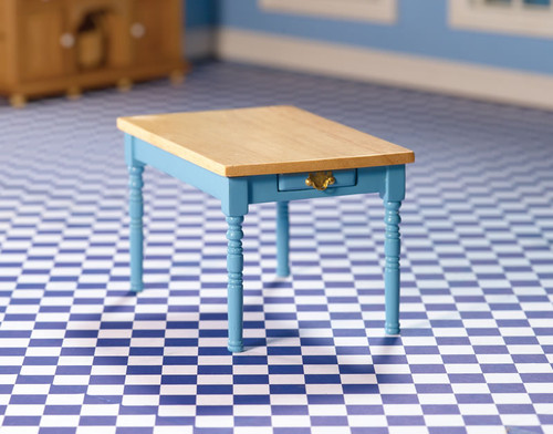 Blue Kitchen Table with Pine Top 7110