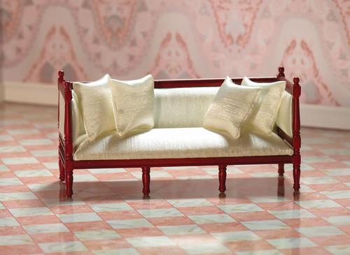 Cream 'Silk' Louis XVI Sofa in Mahogany 7216