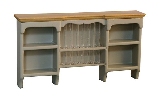 Shaker-Style Wall Shelves with Plate Rack Grey/Pine 9341