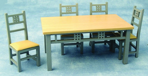 Modern Silver Dining Table & 4 Chairs Set DF917