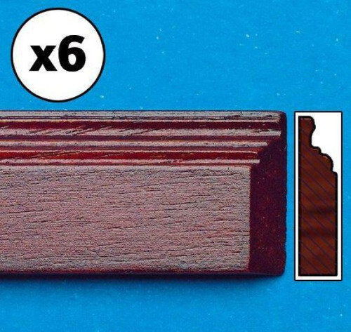 Mahogany-Coloured Skirting Board, 6 Pieces 7174