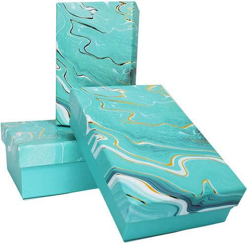 Teal ALEF Elegant Decorative Themed Nesting Gift Boxes -3 Boxes- Nesting Boxes Beautifully Themed and Decorated!