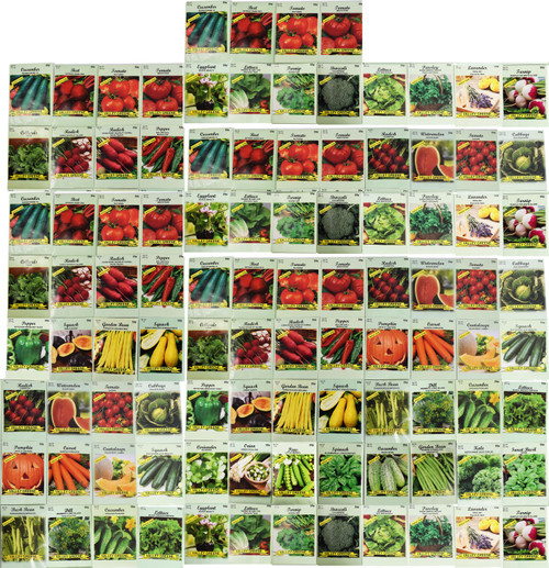 100 Assorted New Heirloom Vegetable Seeds 100% Non-GMO (100, Deluxe Assorted Vegetable Seeds)