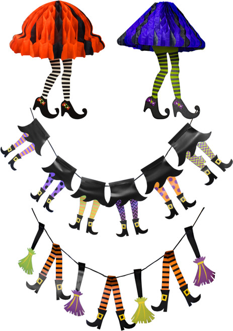 Set of Witch Party Decorations - Features Banners and Hanging Decor - Perfect for Spooky Halloween Parties and Trick or Treat Decorations!