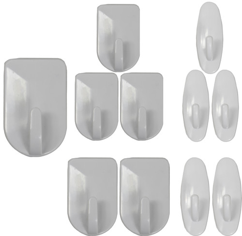 Set of Self Adhesive Utility Hooks - Perfect for Lightweight Items! - Easy to Apply to Smooth Surfaces